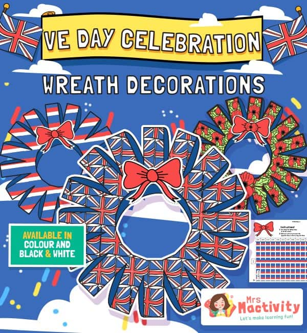 VE Day Celebration Wreath Paper Craft