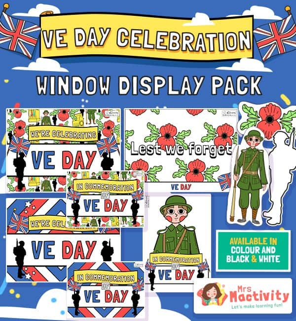 VE Day Celebration Window Display Pack