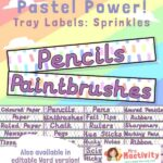 Pastel Classroom Tray Labels - Sprinkles