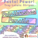 Pastel Classroom Tray Labels - Stripes
