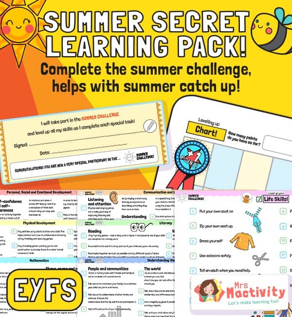 EYFS (Age 3-5) Summer Catch-up Resource Pack