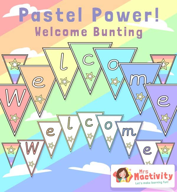 Pastel Classroom Display Welcome Bunting