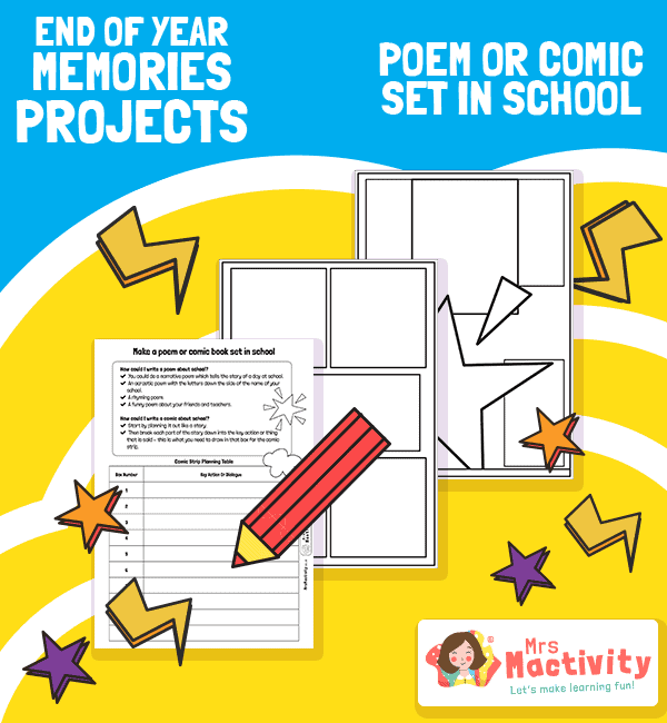 End of Year Memories Project - Comic Book Activity