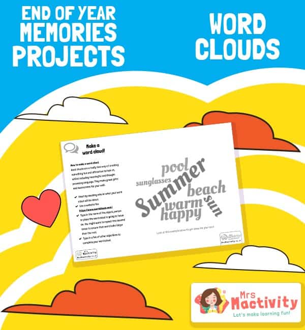 End of Year Memories Project - Word Cloud Activity