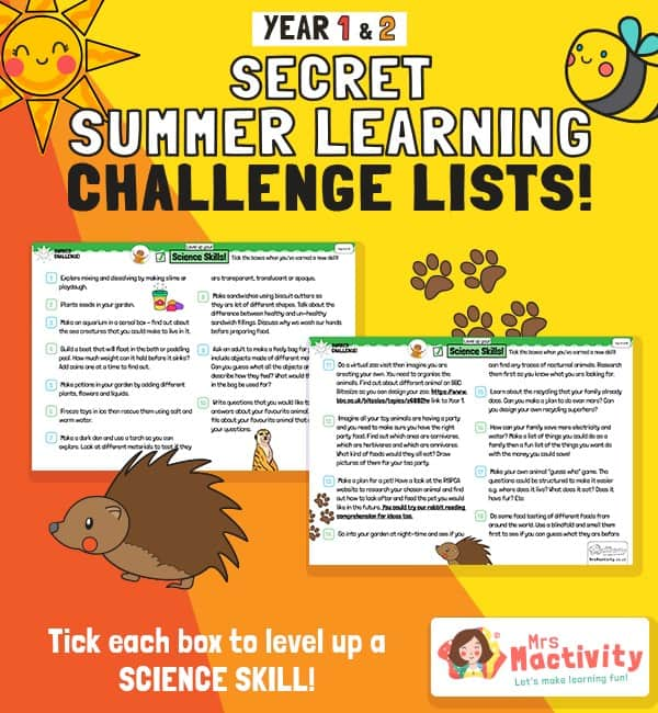 KS1 (Age 5-7) Science Summer Catch-up Activities