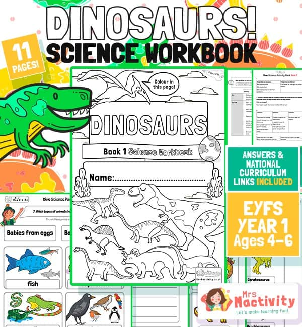 Age 4-6 Dinosaur Science Workbook