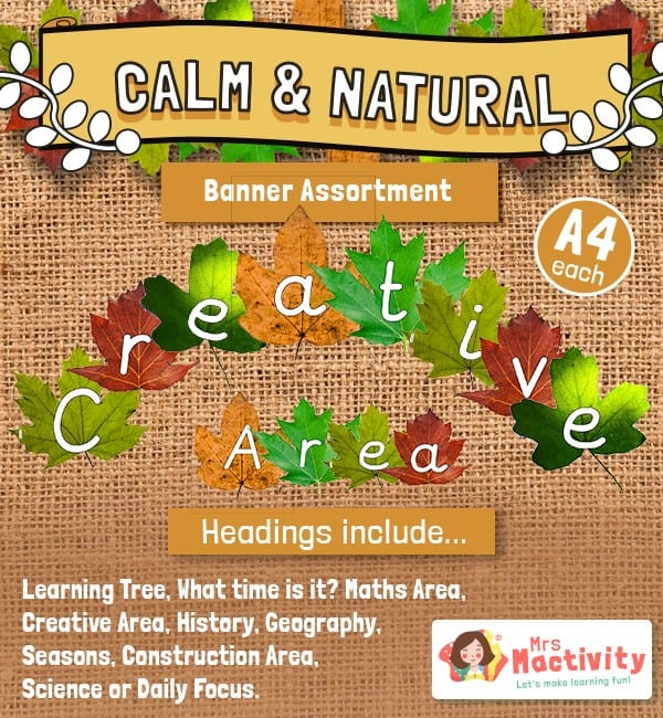 Calm and Natural Classroom Banners - Leaves