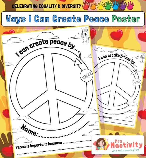 Celebrating Equality and Diversity Peace Colouring Posters