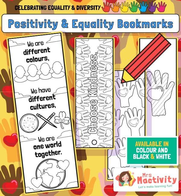 Celebrating Equality and Diversity Bookmarks - Black & White