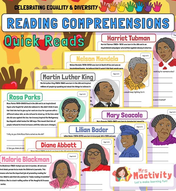Celebrating Equality and Diversity Reading Comprehension Activities