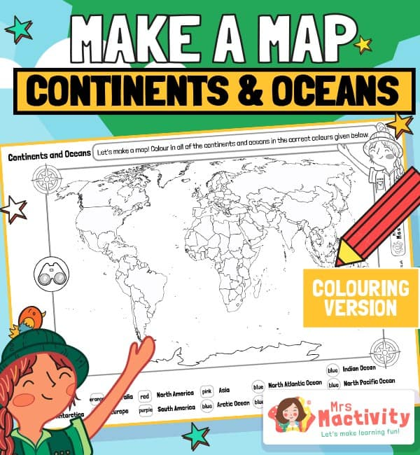 World Map Continents and Oceans Colouring Activity