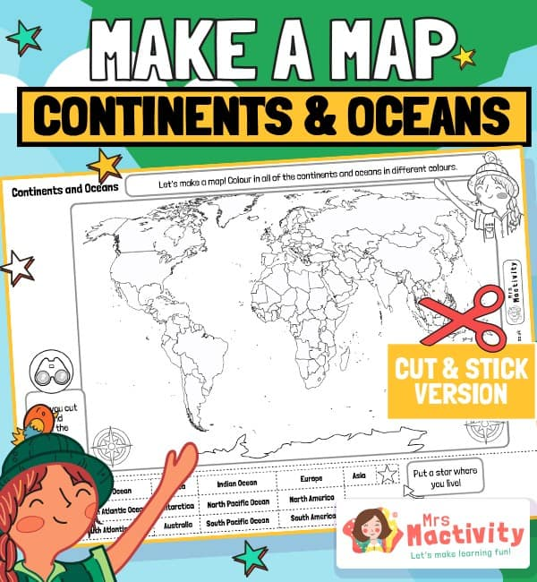 World Map Continents and Oceans Labelling Activity
