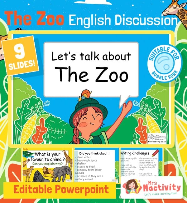Zoo English Discussion Editable PowerPoint