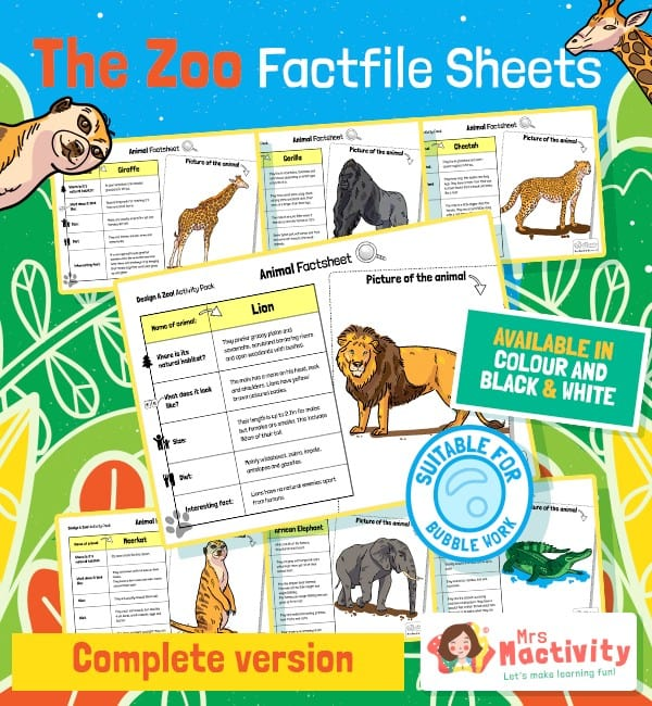 Animal Fact File Sheets - Completed
