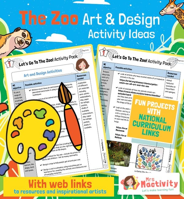 Zoo Art and Design Activity Ideas