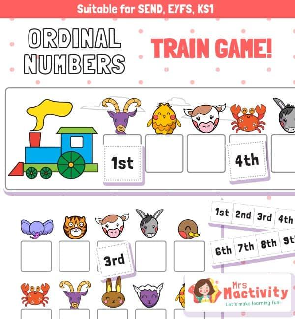 Ordinal Numbers Train Ordering Game