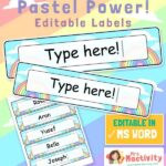 Pastel Classroom Tray and Peg Labels