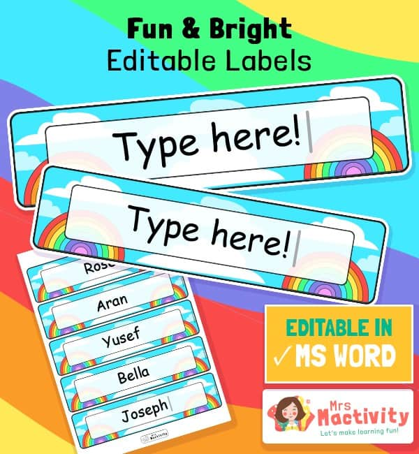 Rainbow Classroom Tray and Peg Labels