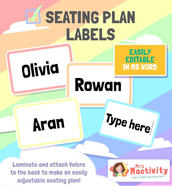 Seating Plan Labels Large Pastel Editable