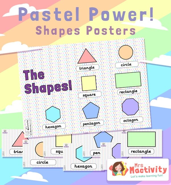 Pastel Classroom 2D Shape Display Posters