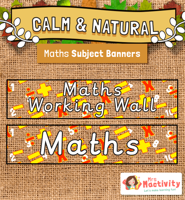 Calm and Natural Maths Display Banners