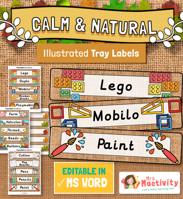 Equipment Calm and Natural Classroom Tray Labels
