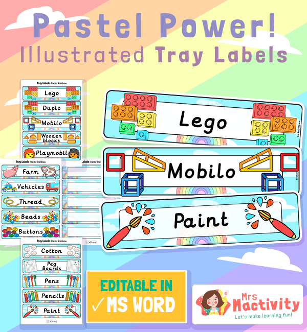 Equipment Pastel Classroom Tray Labels