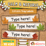 Calm and Natural Editable Tray Labels