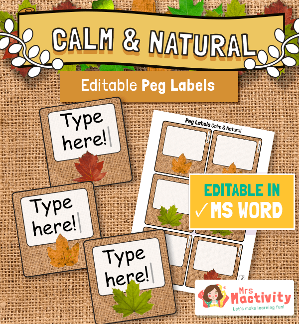 Calm and Natural Editable Peg Labels