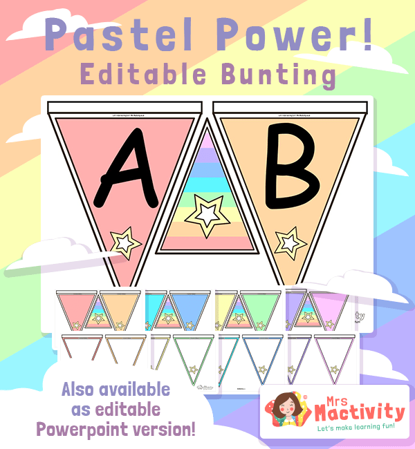 Editable Pastel Display Bunting