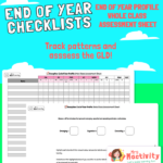 Reception End of Year Profile Whole Class Assessment Sheet