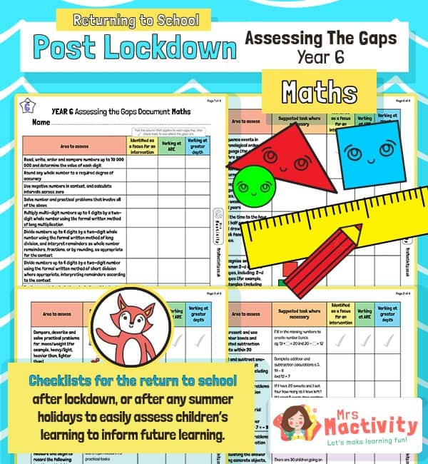 Post Lockdown Assess the Gaps Maths End of Year 6