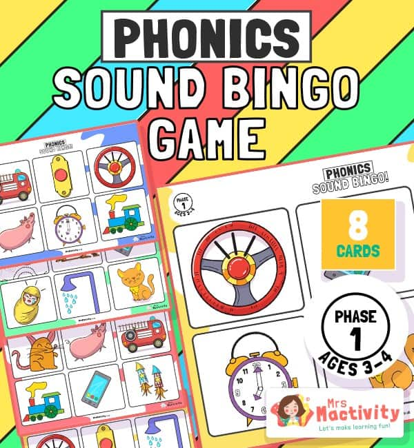 Phonics Phase 1 Voice Sounds Bingo Game