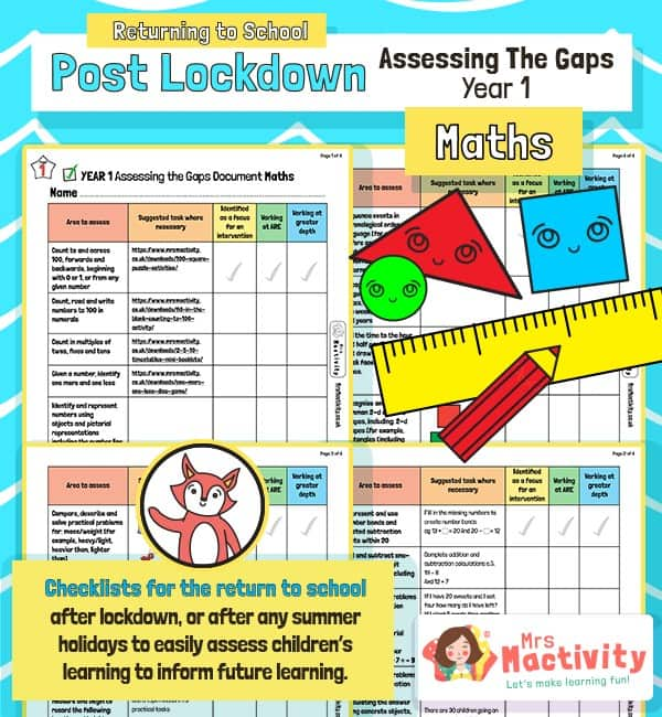 Post Lockdown Assess the Gaps Maths Year 1