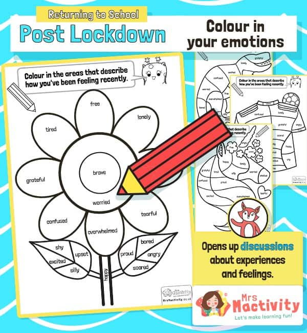 Post Lockdown Emotions Colouring Activity
