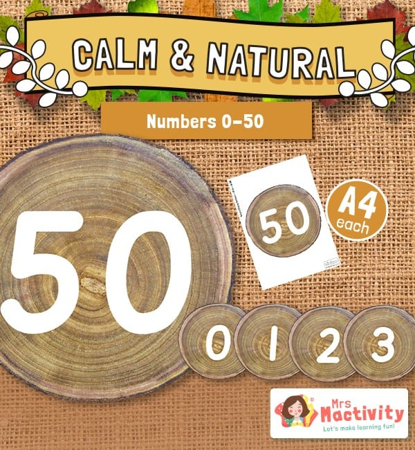 Numbers 0-50 on Wooden Discs