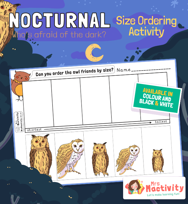 Nocturnal Animals Owl Size Ordering Activity
