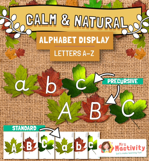 Calm and Natural Alphabet Leaf Display Pack