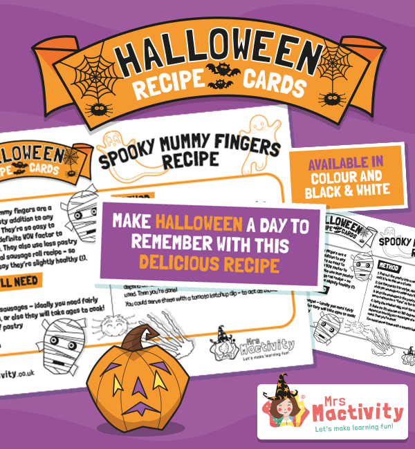 Halloween Spooky Mummy Fingers Sausage Roll Recipe Card