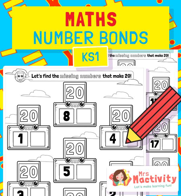 Number Bonds to 20 Missing Number Worksheet