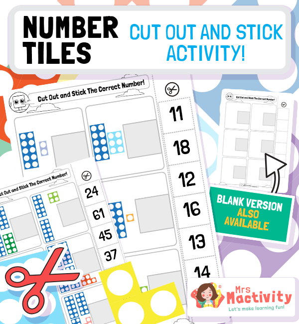 Number Tiles Cut and Stick Matching Activity