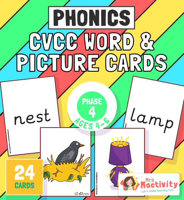 Phase 4 CVCC Word and Picture Cards