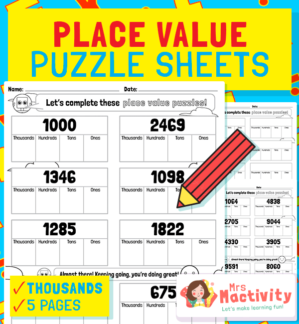 Partitioning Place Value Worksheets - Thousands