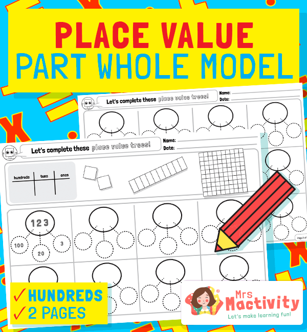 Hundreds Tens and Units Part Whole Model Template