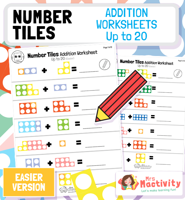 Number Tiles Addition Worksheets to 20