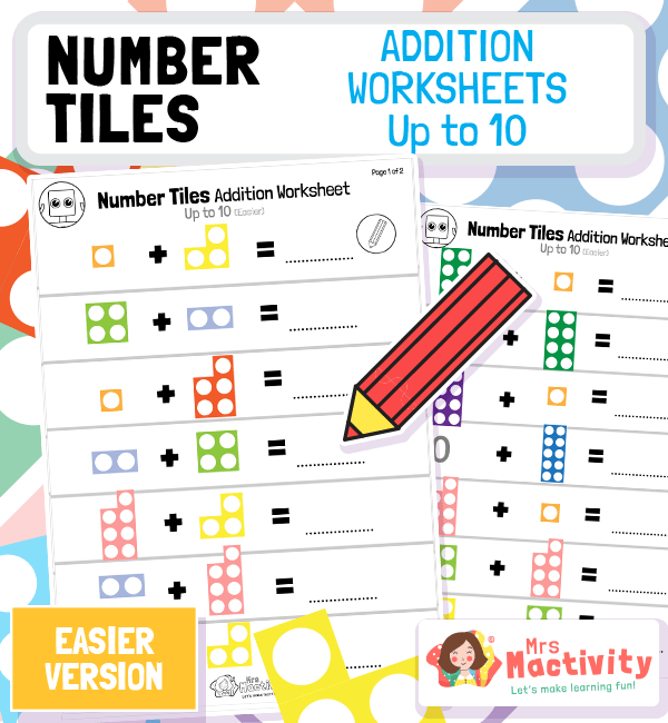 Number Tiles Addition Worksheets to 10