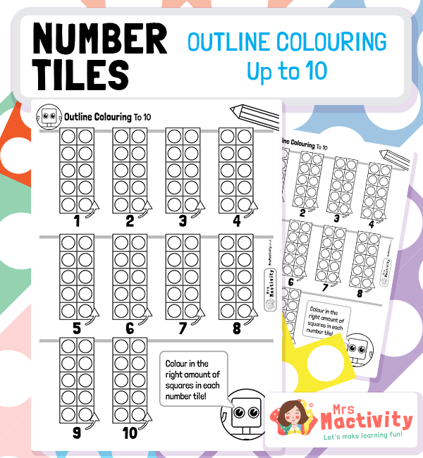 Number Tiles Colouring Activity