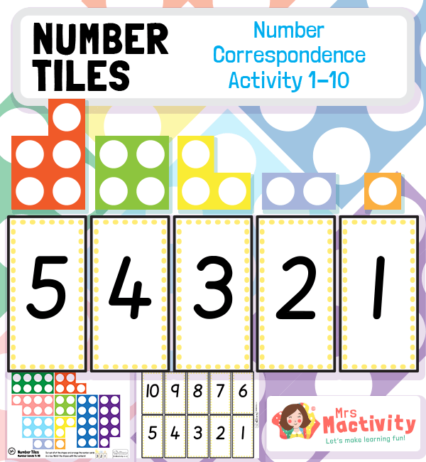 Number Tiles Number Correspondence to 10 Activity