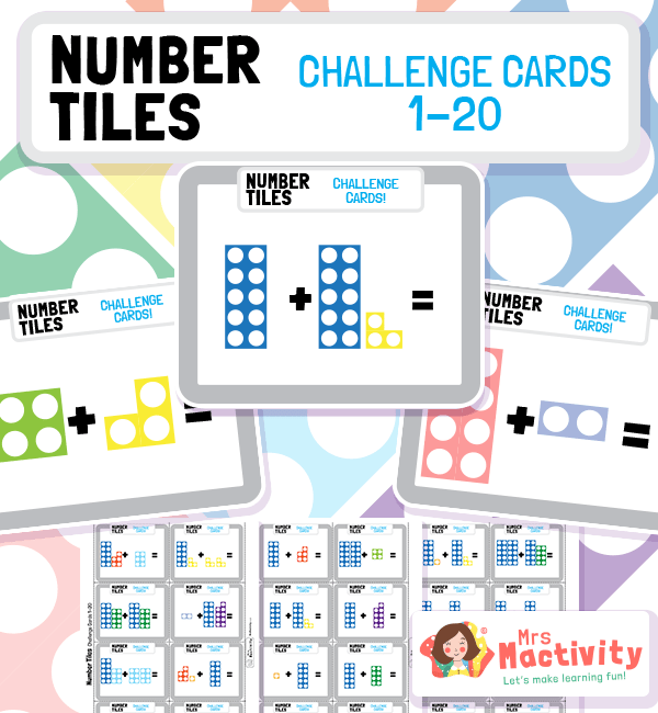 Number Tiles Addition Challenge Cards to 10