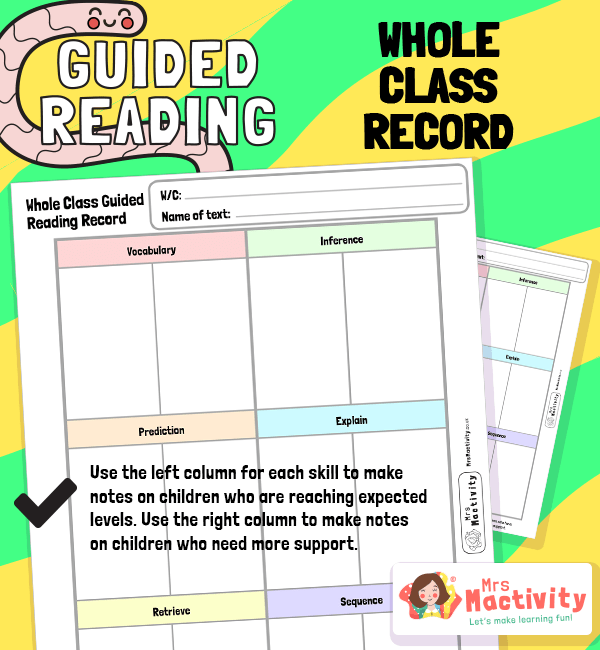 Whole Class Guided Reading Record Sheet